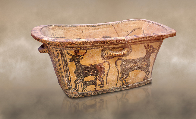 Minoan  pottery bath tub  larnax decorated with a cow nursing a calf,  Episkopi-Lerapetra 1350-1250 BC, Heraklion Archaeological  Museum.<br /> <br /> To the Greeks, the Underworld was entered by water. As with many other Minoan bathtubs, this one was probably later used as a coffin to convey the deceased across the sea, where marine imagery would be equally appropriate. The two functions of bathtubs, bathing and burial, combine in the story of Agamemnon who, on return from Troy, was murdered by his wife and her lover in a silver bath.