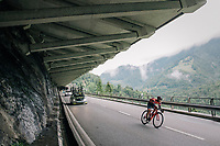 last descender off the first climb<br /> <br /> Stage 5: Gstaad &gt; Leukerbad (155km)<br /> 82nd Tour de Suisse 2018 (2.UWT)