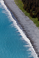 Aerial view of shoreline and waves, Alaska