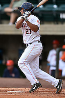 Greenville Astros designated hitter Jacob Nottingham #27 swings at a pitch during a game against the Pulaski Mariners at Pioneer Park July 12, 2014 in Greenville, Tennessee. The Mariners defeated the Astros 11-10. (Tony Farlow/Four Seam Images)