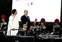 Il Presidente del Consiglio Silvio Berlusconi, a destra, ed il leader libico Muammar Gheddafi alla cerimonia per il secondo anniversario della stipula del trattato di amicizia tra Italia e Libia, a Roma, 30 agosto 2010..Italian Premier Silvio Berlusconi, right, and Libyan leader Moammar Gadhafi attend a ceremony to mark the second annual Libyan-Italian friendship day, in Rome, 30 august 2010..UPDATE IMAGES PRESS/Riccardo De Luca