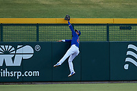 AZL Cubs 1 left fielder Carlos Pacheco (29) robs Marty Bechina (not pictured) of a home run during an Arizona League game at Sloan Park on June 20, 2019 in Mesa, Arizona. AZL Athletics Gold defeated AZL Cubs 1 21-3. (Zachary Lucy/Four Seam Images)