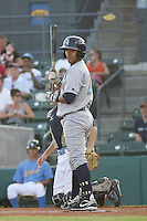 Wilmington Blue Rocks shortstop Christian Colon #12 at batduring a game vs. the Myrtle Beach Pelicans at BB&T Coastal Field in Myrtle Beach,SC on July 19, 2010.   Wilmington defeated Myrtle Beach by the score of 2-0.  Photo By Robert Gurganus/Four Seam Images