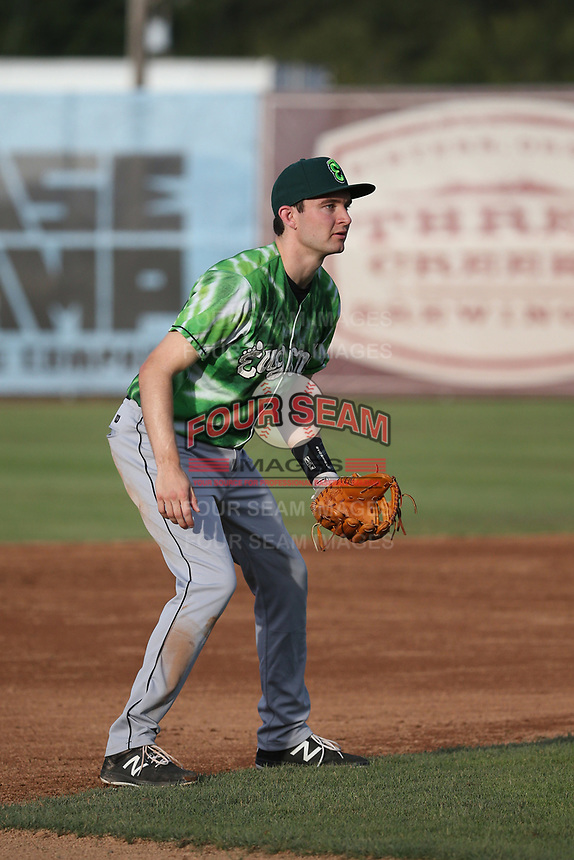 Austin Filiere (7) of the Eugene Emeralds in the field during a game against the Salem-Keizer Volcanoes at Volcanoes Stadium on July 24, 2017 in Keizer, Oregon. Eugene defeated Salem-Keizer, 7-6. (Larry Goren/Four Seam Images)
