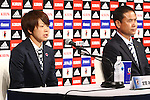 (L-R)<br /> Aya Miyama, <br />  Norio Sasaki (JPN), <br /> JULY 7, 2015 - Football / Soccer : <br /> Japanese women's national football team attends a press conference after arriving in Chiba, Japan. <br /> Japan lost the FIFA Women's World Cup Canada 2015 Final match against United States on July 5.<br /> (Photo by Shingo Ito/AFLO SPORT)