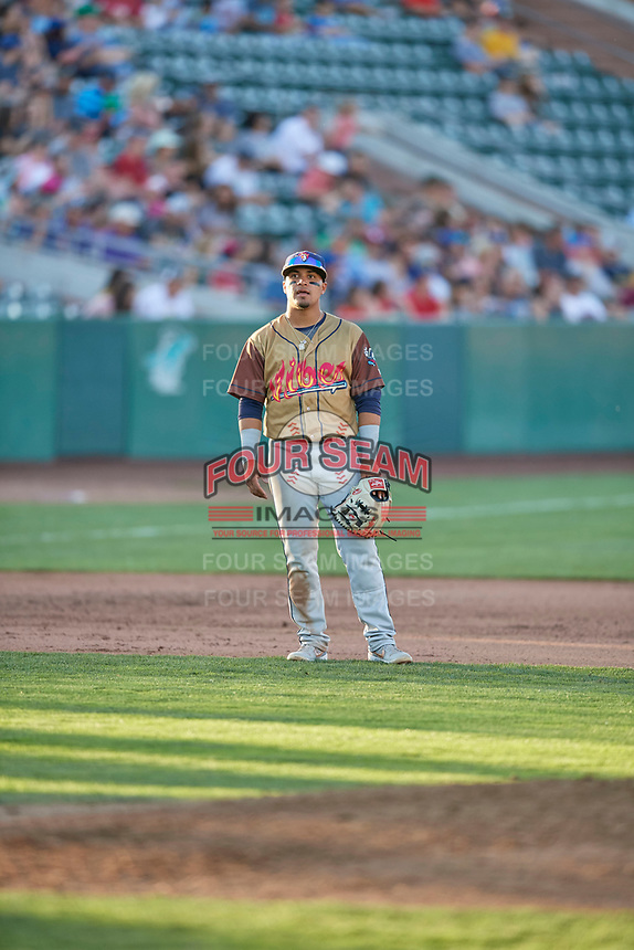 Bryan Torres (1) of the Rocky Mountain Vibes during the game against the Ogden Raptors at Lindquist Field on July 6, 2019 in Ogden, Utah. The Vibes defeated the Raptors 7-2. (Stephen Smith/Four Seam Images)