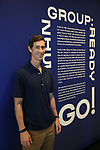 """Matt Ramsey, Blue Man cast member during """"Blue Man Group: Ready...Go!"""" press preview exhibit at the Museum of the City of New York on July 16, 2019 in New York City."""