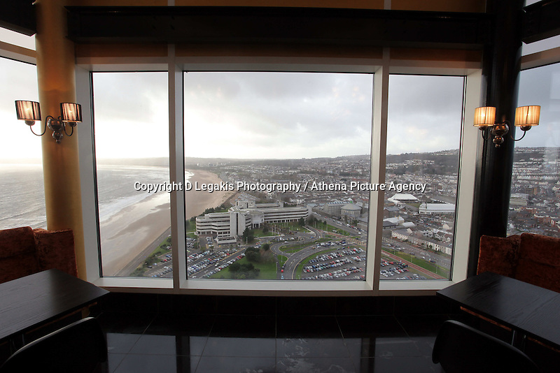 Pictured: general view of Swansea as seen from the Penthouse restaurant<br /> Re: The new Penthouse restaurant on the top three levels of Meridian Quay, the highest building in Wales situated in Swansea Marina. Wednesday 25 November 2009<br /> Picture by D Legakis Photography / Athena Picture Agency, 24 Belgrave Court, Swansea, SA1 4PY, 07815441513