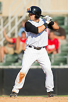 Kevin Dubler #27 of the Kannapolis Intimidators at bat against the Lakewood BlueClaws at Fieldcrest Cannon Stadium on July 17, 2011 in Kannapolis, North Carolina.  The BlueClaws defeated the Intimidators 4-3.   (Brian Westerholt / Four Seam Images)
