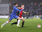 Matthew Bates of Hartlepool Utd tussles with Guy Stopforth of Salford City - Emirates FA Cup Second Round Replay - Hartlepool vs Salford City - Victoria Park - Hartlepool - England - 15th of December 2015 - Picture Jamie Tyerman/Sportimage