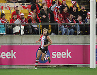 Sydeny fans react to a Nick Riewoldt goal during the Australian Rules Football ANZAC Day match between St Kilda Saints and Sydney Swans at Westpac Stadium, Wellington, New Zealand on Thursday, 24 May 2013. Photo: Dave Lintott / lintottphoto.co.nz