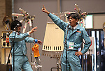 February 19, 2017, Chiba, Japan - Members of Japan's art unit Maywa Denki, Masamichi Tosa (R) and his younger brother Novmichi play music with their unique instrument gadgets for their live performance at the Wonder Festival 2017 Winter at Chiba, suburban Tokyo on Sunday, February 19, 2017. Novmichi Tosa unveiled his new gadget Parabora at the plastic -model trade show.    (Photo by Yoshio Tsunoda/AFLO) LwX -ytd-