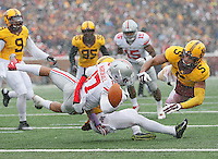 Ohio State Buckeyes running back Jalin Marshall (17) fumbles at the goalline late in the second quarter at TCF Bank Stadium on November 15, 2014. (Chris Russell/Dispatch Photo)