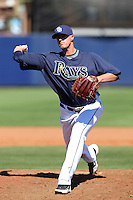 Tampa Bay Rays pitcher Bryan Augenstein #72 delivers a pitch during a spring training game against the Baltimore Orioles at the Charlotte County Sports Park on March 5, 2012 in Port Charlotte, Florida.  (Mike Janes/Four Seam Images)