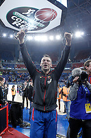 FC Barcelona Regal's Sarunas Jasikevicius celebrates the victory in the Spanish Basketball King's Cup Final match.February 07,2013. (ALTERPHOTOS/Acero)
