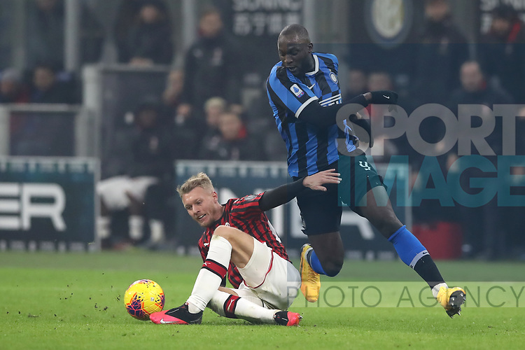 Simon Kjaer of AC Milan takes the ball from Romelu Lukaku of Inter during the Serie A match at Giuseppe Meazza, Milan. Picture date: 9th February 2020. Picture credit should read: Jonathan Moscrop/Sportimage