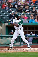 Fort Wayne TinCaps Dwanya Williams-Sutton (11) at bat during a Midwest League game against the Kane County Cougars at Parkview Field on May 1, 2019 in Fort Wayne, Indiana. Fort Wayne defeated Kane County 10-4. (Zachary Lucy/Four Seam Images)
