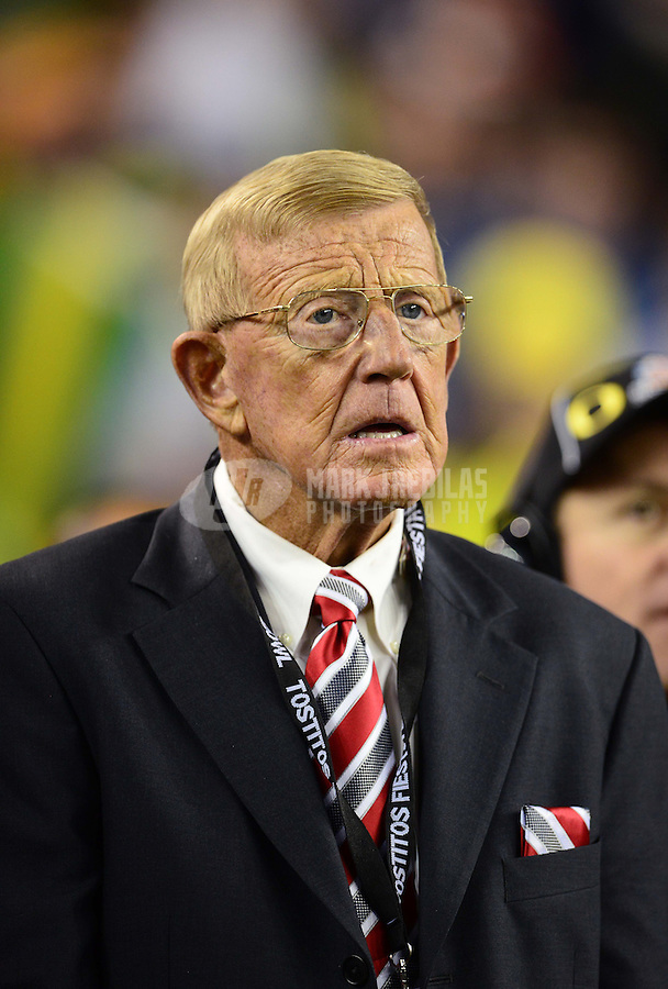 Jan. 3, 2013; Glendale, AZ, USA: ESPN commentator Lou Holtz on the sidelines of the game between the Kansas State Wildcats against the Oregon Ducks during the 2013 Fiesta Bowl at University of Phoenix Stadium. Oregon defeated Kansas State 35-17. Mandatory Credit: Mark J. Rebilas-