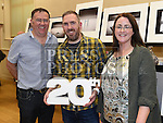 Secretary Brian Young, Chairperson Richard Hatch and Treasurer Deirdre Flood at the Mid-Louth Camera Club's 20th anniversary exhibition in St. Brigid's Hall Dunleer. Photo:Colin Bell/pressphotos.ie