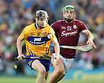 Tony Kelly of Clare in action against Niall Burke of Galway during their All-Ireland semi-final at Croke Park. Photograph by John Kelly.