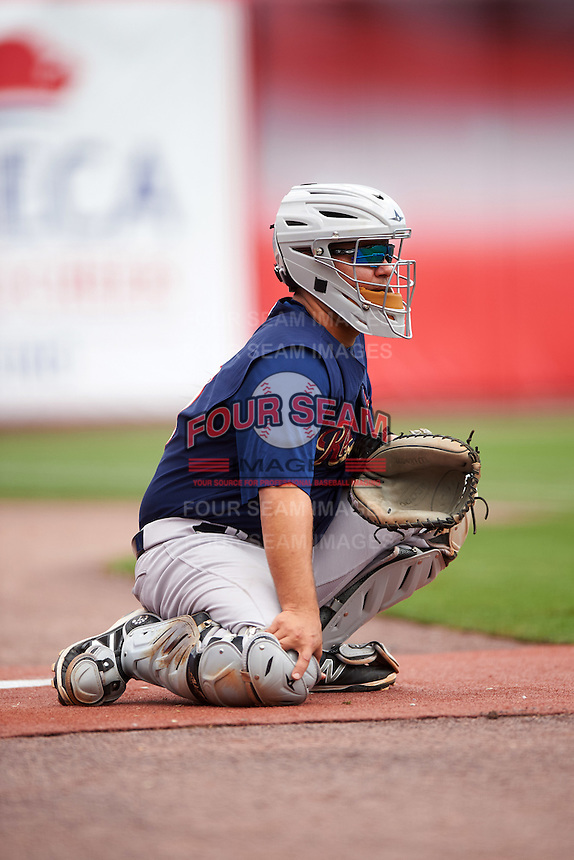 Scranton/Wilkes-Barre RailRiders catcher Eddy Rodriguez (10) in the bullpen during a game against the Buffalo Bisons on July 2, 2016 at Coca-Cola Field in Buffalo, New York.  Scranton defeated Buffalo 5-1.  (Mike Janes/Four Seam Images)
