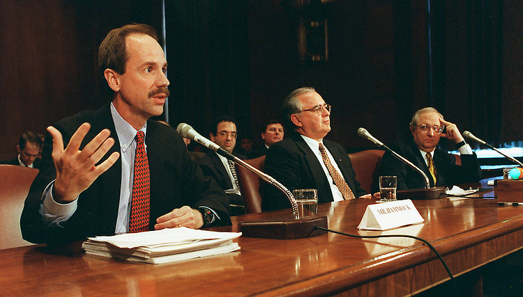 3/3/98.SENATE BANKING HEARING--Rex Hammock, chairman of Hammock Publishing in Nashville, Tenn., and speaking on behalf of the National Federation of Independent Businesses, Neil Mahoney, president and CEO of Woronoco Savings Bank in Westfield, Mass., and Edward Furash, chairman of Furash & Company in Washington, D.C., testify before the Senate Banking, Housing & Urban Affairs Committee on S.1405, which would restructure federal oversight and regulation of financial institutions..CONGRESSIONAL QUARTERLY PHOTO BY SCOTT J. FERRELL