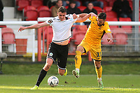 Paul Rooney of Dover Athletic and Southend's Stephen McLaughlin during Dover Athletic vs Southend United, Emirates FA Cup Football at the Crabble Athletic Ground on 10th November 2019