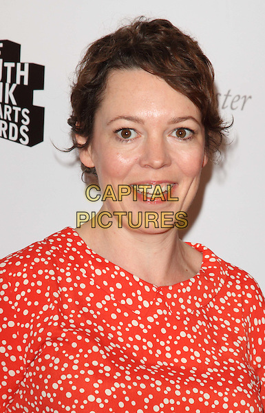 Olivia Colman.South Bank Sky Arts Awards at the Dorchester Hotel, Park Lane, London, England..May 1st 2012.headshot portrait orange white print.CAP/ROS.©Steve Ross/Capital Pictures