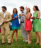 USA, Tennessee, Nashville, Iroquois Steeplechase, friends drink and socialize before the races begin