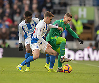 Watford's Gerard Deulofeu (right) is tackled by Brighton & Hove Albion's Solly March (left) <br /> <br /> Photographer David Horton/CameraSport<br /> <br /> The Premier League - Brighton and Hove Albion v Watford - Saturday 2nd February 2019 - The Amex Stadium - Brighton<br /> <br /> World Copyright © 2019 CameraSport. All rights reserved. 43 Linden Ave. Countesthorpe. Leicester. England. LE8 5PG - Tel: +44 (0) 116 277 4147 - admin@camerasport.com - www.camerasport.com
