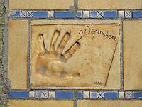 Hand print of the film star, Gerard Depardieu, outside the Palais des Festivals et des Congres, Cannes, France.