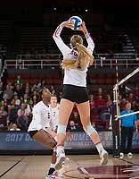 STANFORD, CA - December 1, 2017: Jenna Gray, Tami Alade at Maples Pavilion. The Stanford Cardinal defeated the CSU Bakersfield Roadrunners 3-0 in the first round of the NCAA tournament.
