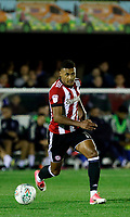 Brentford's Ollie Watkins on the ball during the Carabao Cup match between AFC Wimbledon and Brentford at the Cherry Red Records Stadium, Kingston, England on 8 August 2017. Photo by Carlton Myrie.