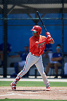 GCL Phillies West shortstop Luis Garcia (5) at bat during a game against the GCL Blue Jays on August 7, 2018 at Bobby Mattick Complex in Dunedin, Florida.  GCL Blue Jays defeated GCL Phillies West 11-5.  (Mike Janes/Four Seam Images)
