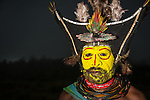The men of the Huli tribe in Tari area of Papua New Guinea in traditional clothes and face paint.