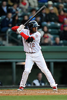 Center fielder Manuel Margot (2) of the Greenville Drive bats in a game against the Charleston RiverDogs on Wednesday, April 16, 2014, at Fluor Field at the West End in Greenville, South Carolina. Margot is the No. 13 prospect of the Boston Red Sox, according to Baseball America. Charleston won, 8-7. (Tom Priddy/Four Seam Images) (Tom Priddy/Four Seam Images)