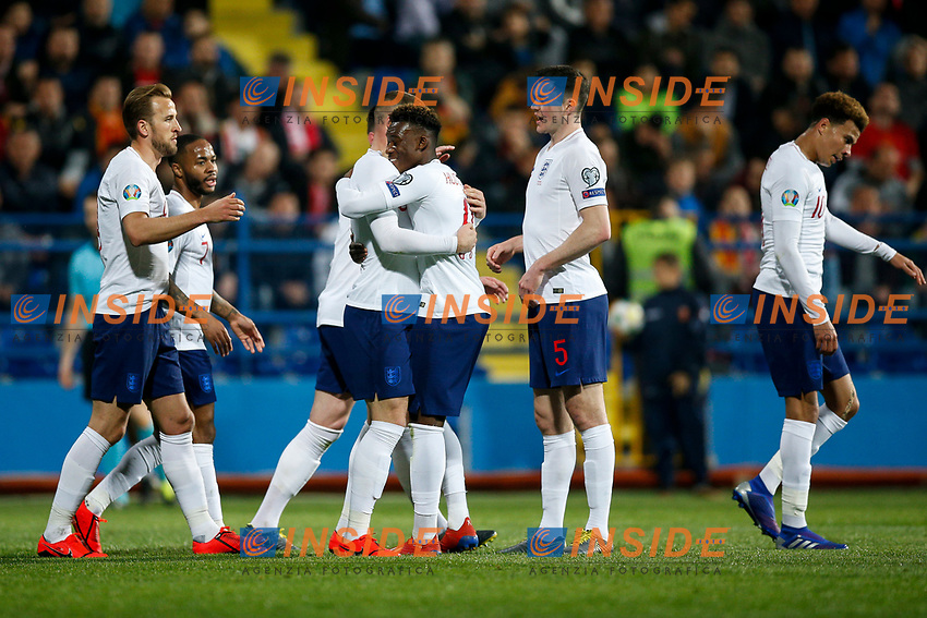 Ross Barkley of England celebrates wiith Callum Hudson-Odoi of England after scoring his side's second goal to make the score 1-2  <br /> Podgorica 25-3-2019 <br /> Football Euro2020 Qualification Montenegro - England <br /> Foto Daniel Chesterton / PHC / Insidefoto <br /> ITALY ONLY