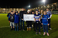 A Bath Rugby Foundation cheque presentation at half-time. Premiership Rugby Cup match, between Bath Rugby and Gloucester Rugby on February 3, 2019 at the Recreation Ground in Bath, England. Photo by: Patrick Khachfe / Onside Images