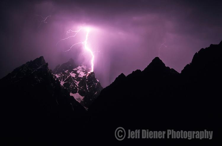 Lightning strikes Mount Owen in Grand Teton National Park, Jackson Hole, Wyoming.