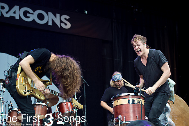 Wayne Sermon and Dan Reynolds of Imagine Dragons perform during the 2013 Budweiser Made in America Festival in Philadelphia, Pennsylvania.
