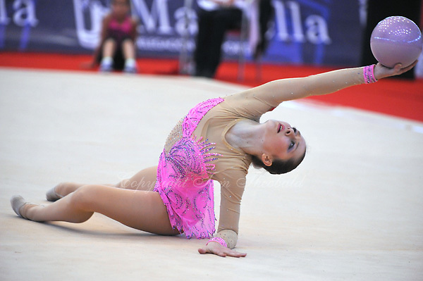 Silviya Miteva of Bulgaria performs with ball at 2010 Grand Prix Marbella at San Pedro Alcantara, Spain on May 15, 2010.  Silviya placed 9th AA at Marbella. (Photo by Tom Theobald).