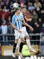 Huddersfield Town's Eric Durm vies for possession with Burnley's Johann Gudmundsson<br /> <br /> Photographer Rich Linley/CameraSport<br /> <br /> The Premier League - Burnley v Huddersfield Town - Saturday 6th October 2018 - Turf Moor - Burnley<br /> <br /> World Copyright &copy; 2018 CameraSport. All rights reserved. 43 Linden Ave. Countesthorpe. Leicester. England. LE8 5PG - Tel: +44 (0) 116 277 4147 - admin@camerasport.com - www.camerasport.com