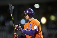 Logan Davidson (8) of the Clemson Tigers during the game against the Charlotte 49ers at BB&T BallPark on March 26, 2019 in Charlotte, North Carolina. The Tigers defeated the 49ers 8-5. (Brian Westerholt/Four Seam Images)
