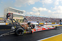 Oct. 5, 2012; Mohnton, PA, USA: NHRA top fuel dragster driver David Grubnic during qualifying for the Auto Plus Nationals at Maple Grove Raceway. Mandatory Credit: Mark J. Rebilas-