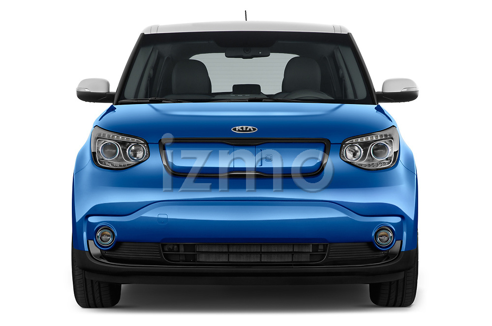 Car photography straight front view of a 2018 KIA Soul EV Base 5 Door Hatchback