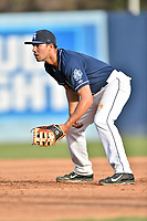 Asheville Tourists first baseman Jacob Bosiokovic (21) during a game against the Greenville Drive at McCormick Field on April 15, 2017 in Asheville, North Carolina. The Tourists defeated the Drive 5-4. (Tony Farlow/Four Seam Images)