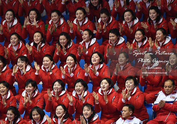 The North Korean cheerleaders. Short track. Gangneung ice arena. Pyeongchang2018 winter Olympics. Gangneung. Republic of Korea. 10/02/2018. ~ MANDATORY CREDIT Garry Bowden/SIPPA - NO UNAUTHORISED USE - +44 7837 394578