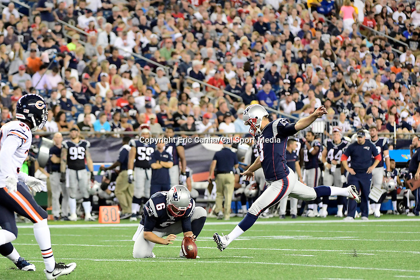 Thursday, August 18 2016: New England Patriots kicker Stephen Gostkowski (3) kick an extra point during a pre-season NFL game between the Chicago Bears and the New England Patriots held at Gillette Stadium in Foxborough Massachusetts. The Patriots defeat the Bears 23-22 in regulation time. Eric Canha/Cal Sport Media