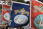 Swan Upping. The River Thames near Windsor Berkshire England 2007. The two livery company the Dyers and Vintners flags