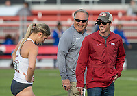 NWA Democrat-Gazette/BEN GOFF @NWABENGOFF<br /> Athletes compete in women's pole vault Friday, April 12, 2019, during the John McDonnell Invitational at John McDonnell field in Fayetteville.